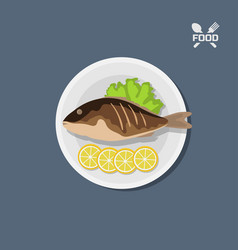 Icon of fried fish with lemon on a plate top view vector