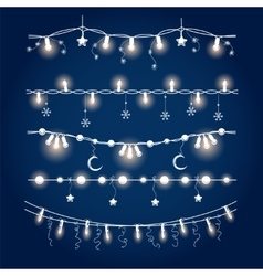 Illuminated christmas garland set vector image