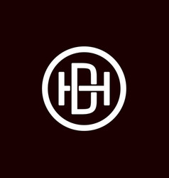 Initial letter hd or dh logo template with circle vector