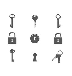 keys and padlocks icon set vector image