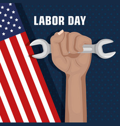 Labor day hand fist raised and tool concept vector
