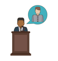 Lawyer defending client vector
