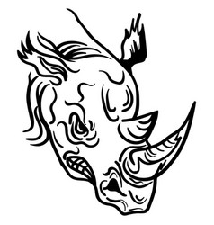 Linear paint draw rhino head vector