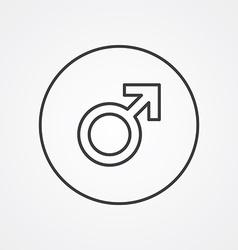 Male symbol outline symbol dark on white vector