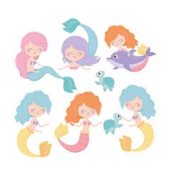 mermaids turtles dolphin cartoon under sea vector image