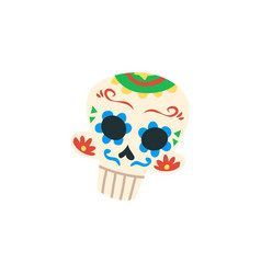 mexican cartoon skull isolated on white background vector image