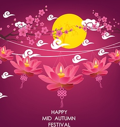 Mid Autumn Festival background with lotus lantern vector
