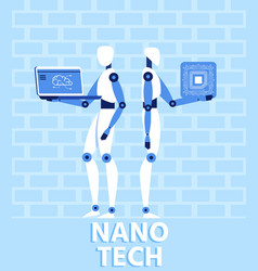 nano tech and artificial intelligence flat banner vector image