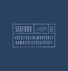 Narrow sans serif font in style hand-drawn vector