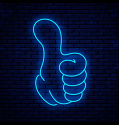 neon sign thumb up vector image