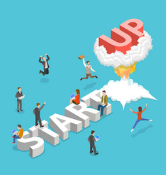 new business startup flat isometric concept vector image