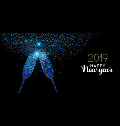 New year 2019 blue glitter glass toast card vector
