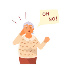 old lady exclaim in surprise vector image