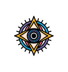 One eye of god religious sign symbol logo logotype vector