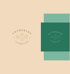 outline emblem crossed hands with lotus line vector image
