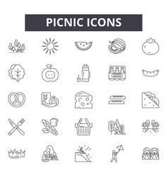 picnic line icons signs set outline vector image