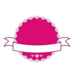 Pink emblem with hearts and ribbon vector