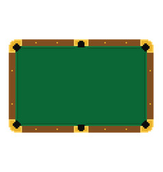 Pixel art empty green billiard table on a white vector