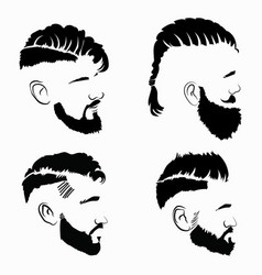 printset hairstyles for men in glasses vector image