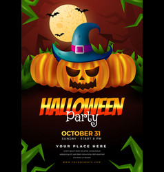 Realistic vertical halloween party flyer template vector
