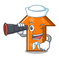 Sailor with binocular arrow mascot cartoon style vector
