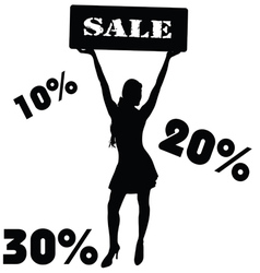 sale sign with girl vector image vector image