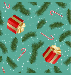 seamless pattern with realistic gift boxes fir vector image