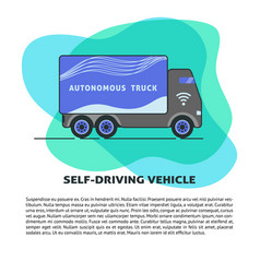 Self-driving truck banner template in flat style vector