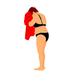 senior lady dries with towel after swimming vector image