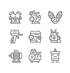 Set line icons of motor and engine vector