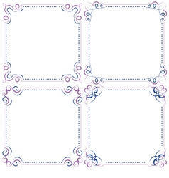 set Multilayer violet blue elegant frame vector image