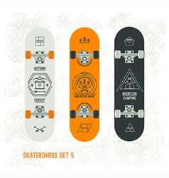 Set of retro vintage badges on a skateboard vector image