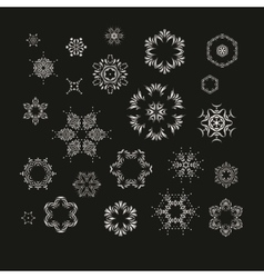 Set of silver fractal mandala vector