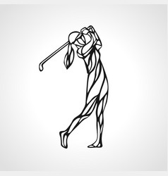 silhouette lady golf player eps10 vector image