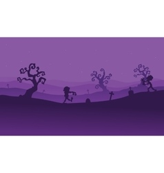 Silhouette of zombie walking in tomb vector