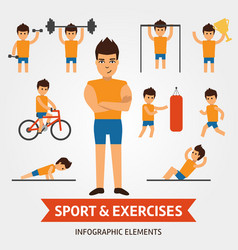 Sport and exercises infographic elements vector