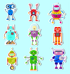 stickers witn cute robots vector image