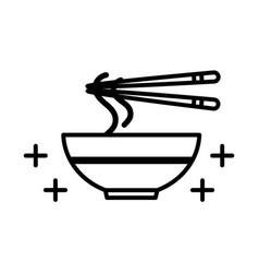 sushi oriental menu noodles sticks and dish line vector image