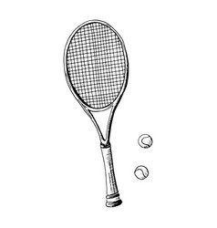 Tennis racquet hand drawn sketch style tennis vector