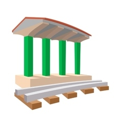 Train station cartoon icon vector image
