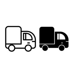 Truck line and glyph icon lorry vector
