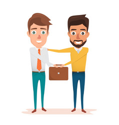 two business man shaking hands of vector image