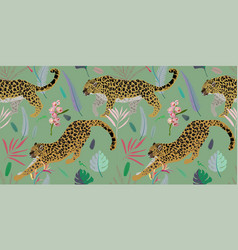 two leopards on a light green background seamless vector image