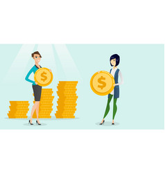 Two multiethnic business women with dollar coins vector