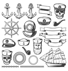 Vintage Sailor Naval Icon Set vector