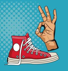 Vintage sneaker pop art vector