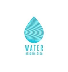 Water drop logo line blue design element creative vector image