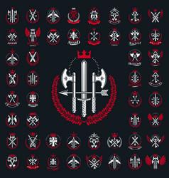 Weapon logos big set vintage heraldic military vector