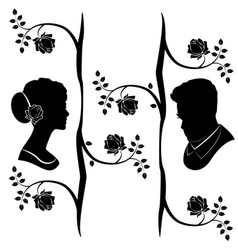 wedding silhouette flourishes 4 vector image