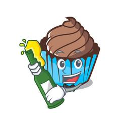 with beer chocolate cupcake mascot cartoon vector image